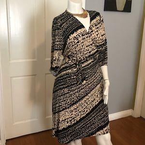 Animal Print Wrapping Jersey Dress